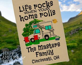 Campsite flag life rocks home rolls