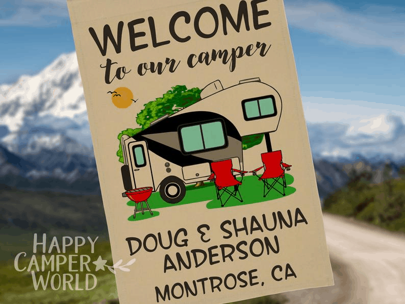 Campsite flag welcome