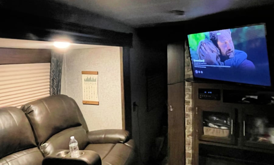 RV couch and TV swivel
